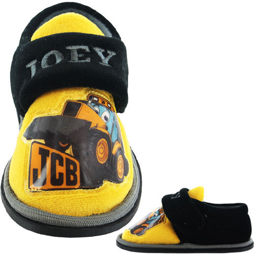 JCB Boy/'s Plain Black with JCB Logo  School Shoes UK Child 10