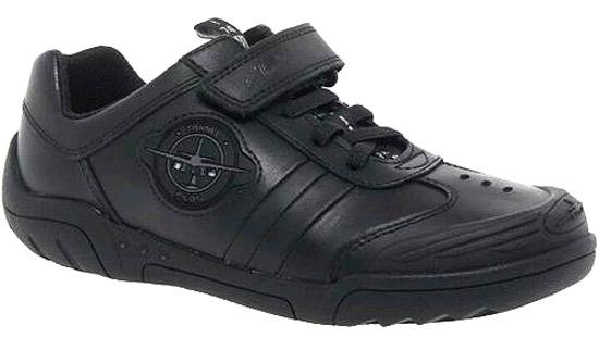 Boys Clarks Wing Raid Black Leather Lights School Shoes SiZE UK 2 1//2 F