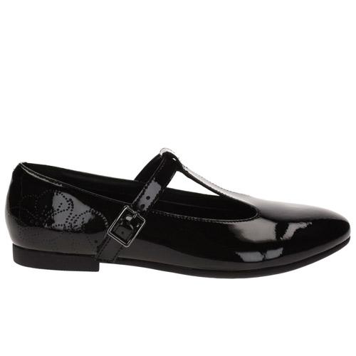 BNIB Clarks Girls Selsey Fudge Black Patent Leather School Shoes F//G Fitting